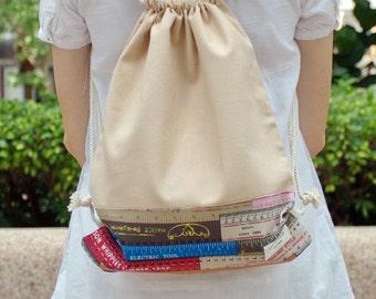 Drawstring backpack/ Cotton backpack/ Drawstring bag/ handmade backpack/ Gym bag/ Swim bag ~ Measuring tape (b) (B42)