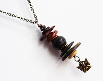 Brown Bead Necklace, Pendant Necklace, Beaded Jewelry, Angel Necklace, Stacked Bead, Mixed Media, Mixed Metal, Long, Layering, Bohemian