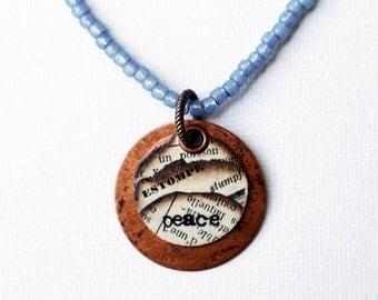 Peace Mixed Media Pendant Necklace Indigo Blue Seed Bead Short Boho Hippie Blue Beaded Jewelry Recycled Paper Inspirational Positive