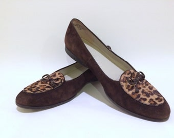 Leopard Print Calf Hair and Suede Leather Slip on Loafers Flats