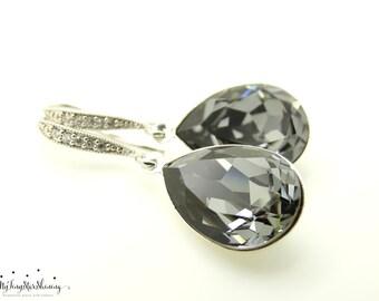Bridal Earrings Black Earrings Silver Night Earrings Teardrop Earrings Grey Earrings Bridesmaid Gifts Dangle Earrings Wedding jewelry