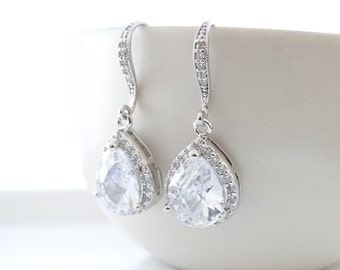 Wedding Jewelry Bridal Jewelry Bridal Earrings Bridesmaid Earrings Cubic Zirconia Teardrop Earrings Dangle Earrings Bridesmaid gifts