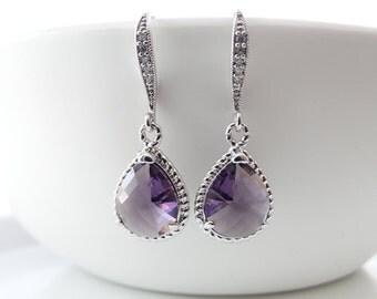 Purple Earrings Amethyst Earrings Bridal Jewelry Bridal Earrings Wedding Jewelry Earrings Bridesmaid Gift Dangle Earrings Cubic Zirconia