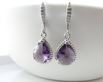 Purple Earrings Bridal Earrings Amethyst Earrings Teardrop Earrings Wedding Earrings Bridal Earrings Bridesmaids Gift Dangle Earrings