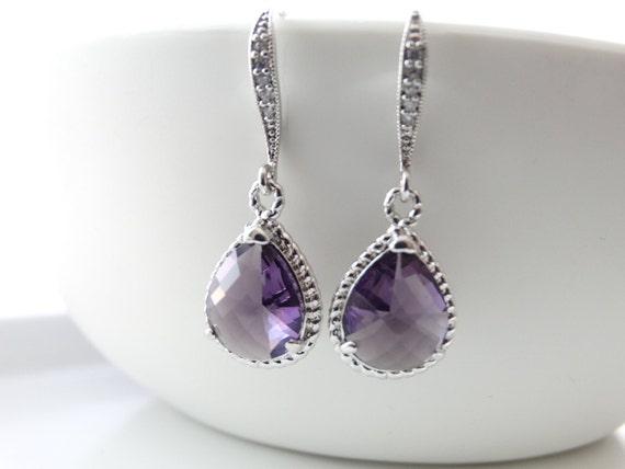 Purple Earrings Bridal Earrings Amethyst Earrings Teardrop Earrings Wedding Earrings Bridal Earrings Bridesmaids Gift Dangle Earrings