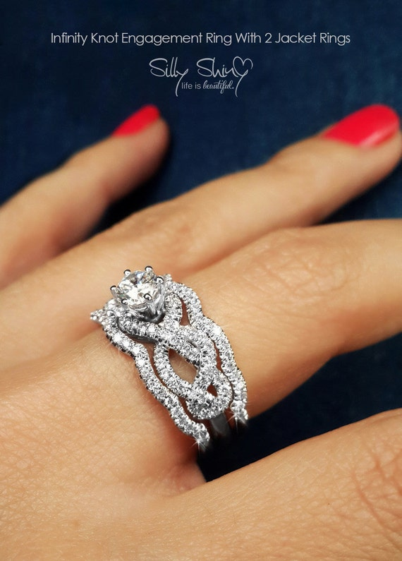 unique wedding ring sets infinity engagement rings infinity knot by sillyshinydiamonds 8191