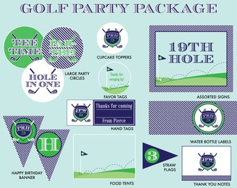 GOLF PARTY DECORATIONS - Golf Birthday Party Package, Preppy Golf Birthday, Golf Party Printables, Golf Printables,
