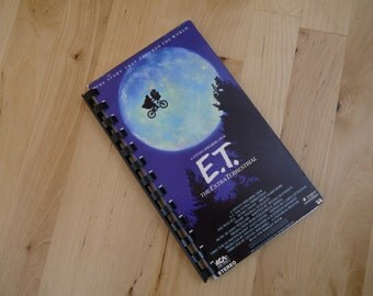 Handmade E.T. The Extra-Terrestrial 1982 Movie Re-purposed VHS Cover Notebook Journal