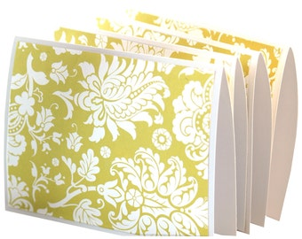 Blank note card set, floral note card set, folded cards, damask stationery