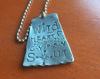 Blame It On My Wild Heart Gypsy Soul Compass Hand Stamped Metal Hand made Jewelry Quote Tag Charm Ornament Be Wild Free Crazy Rebel Rogue