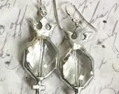 RESERVE LISTING for Portobellodiva Dangle earrings soldered pewter crystal earrings Crown Cross sterling earwires Clear Crystal