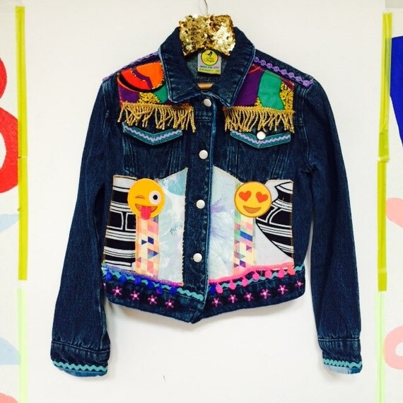 JUMP 6-7 Years Denim Jacket Upcycled with African fabric Pom Pom Trim Patches Unisex