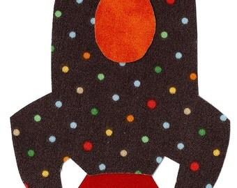 Rocket ship iron on applique DIY brown with polka dots
