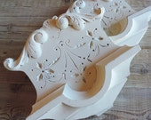 SALE!Pair of Architectural Salvage Spoon carved Victorain Wall Decor, white. 1900's, shabby chic, french country, HTF