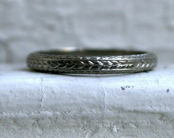 RESERVED - Vintage Hand Etched 18K White Gold Wedding Band.