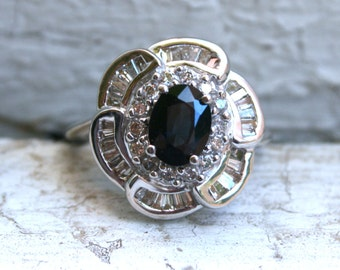 Vintage 14K White Gold Sapphire Ring Engagement Ring with Baguette Diamonds - 3.00ct.