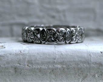 RESERVED - Sweet Floral Vintage Platinum Diamond Eternity Wedding Band.
