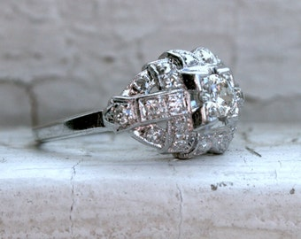 RESERVED - Stunning Art Deco Platinum Diamond Engagement Ring - 0.79ct.