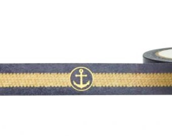 Gold Foil Anchor and Rope on Black Washi Tape, 15mm x 10m, with Cutter by Little B