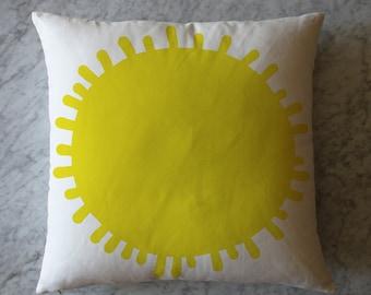 Pillow with Yellow Sun.  October 1, 2013