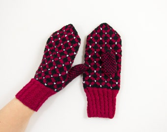 Hand Knitted Mittens - Red and Black, Size Medium