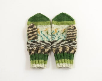 Knitted Mittens - Green, Brown and White, Size Medium