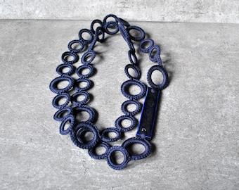 Blue statement OOAK necklace cotton crochet with unique  raku beads by Aliquid Statement jewelry