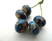 blue spot handmade lampwork glass beads