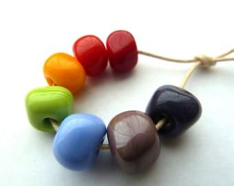 rainbow nugget handmade lampwork glass beads