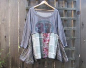 Funky Boho Sweatshirt Tunic Top/ Long Sleeve Upcycled Eco Blouse/ Lagenlook Asymmetrical Womens Plussize Shirt XL 1X