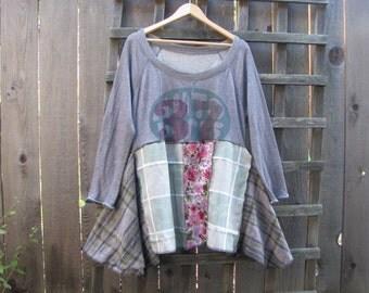 Funky Boho Sweatshirt Tunic Top/ Long Sleeve Upcycled Eco Blouse/ Lagenlook Asymmetrical Womens Plussize Shirt XL 1X