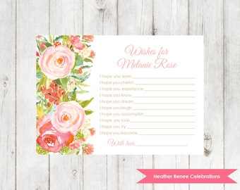 Whimsical Wishes for Baby | Printable Baby Shower Keepsake | Floral Party Game