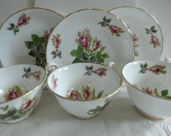 3 Tea Cups and Saucers - English Bone China - Vintage Tea Cups - Tea Party China - Display China - Victorian Tea Cups and Saucers