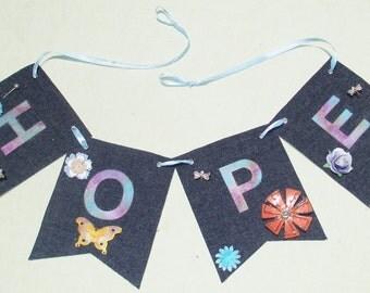Denim HOPE Mixed Media Flag Banner