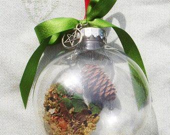 Herbal Yule Ball Ornament with Pentagram