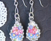 Earrings, Broken China Jewelry, Broken China Earrings, Pink and Blue Floral, Sterling Sliver, Soldered Jewelry