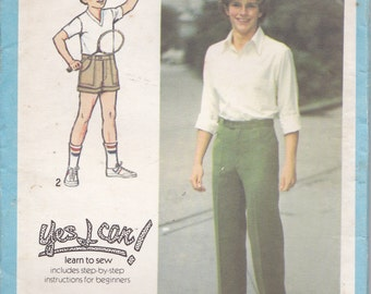 1970's Simplicity Sewing Pattern No 8879 for Boys Pants, Shorts Size 10, Uncut, Factory Folded