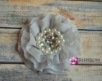 GRAY Flowers - The Rebecca Collection - Ruffled Pearl Rhinestone Chiffon Flowers - DIY Flower Headband & Clip - Grey Silver - Blossoms