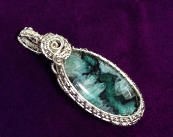 Green Druzy Agate Wire Wrapped Pendant