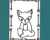 ACEO,  ATC, Little Fox, Art Trading Card, Hand Drawn, Kid Friendly, Black and White, Animal