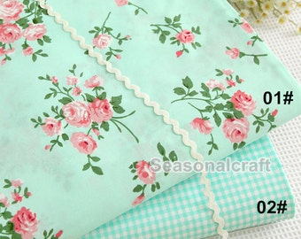 Light Green Shabby Chic Fabric Froal Flower Cotton