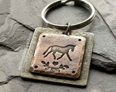 Hand Stamped Keychain- Horse Lover Keychain-Equestrian Gifts-Horse gifts