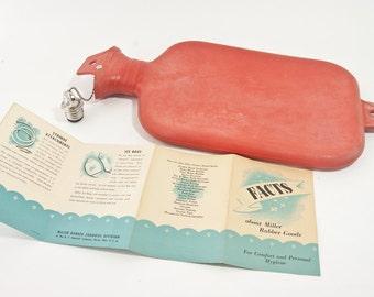 "Vintage Miller ""Flaming Beauty"" Water Bottle, Vintage Rubber Water Bottle"