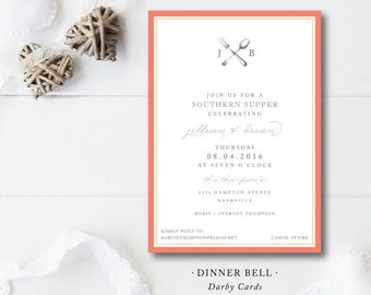 Dinner Bell Printed Invitations | Rehearsal Dinner or Cookout Party | Printed or Printable by Darby Cards