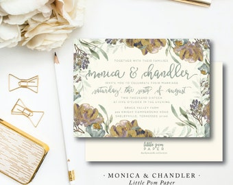 Monica and Chandler Wedding Suite | Invitation & additional pieces | Printed by Darby Cards Collective