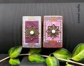 Gypsy Inspired Wood Magnet Set - Bohemian Decor - Gypsy Kitchen Fridge Art - Mixed Media Hand Painted Magnet - Pkg. 2