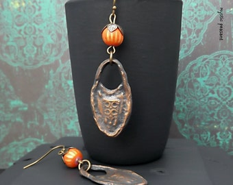 Orange Bronze Striped Artisan Dangle Earring - Boho Hippie Orange Copper Charm Dangle Earring - Handmade Polymer Bead Earrings