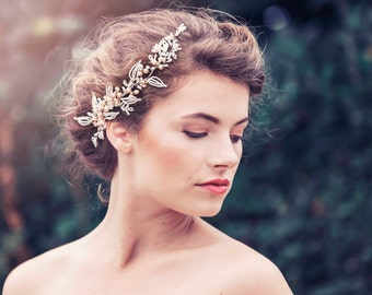 Romantic Decorative Wedding Hair vine, Wedding headpiece, Bridal headpiece, Elva Bridal Hair comb #GD1039