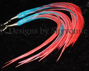 Turquoise/Corral Fade Ombre Feather Earrings