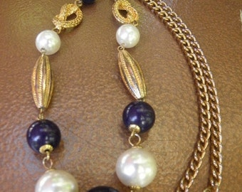 20%OFF 1980's Fabulous Vintage Large 15mm Pearl,18mm Purple & Gold Beaded Necklace, Decortive Gold Beads